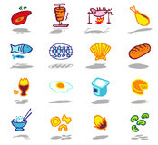 iconos del alimento fijados Imagen de archivo libre de regalías