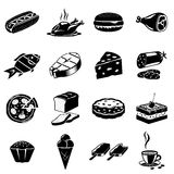 Iconos del alimento fijados Foto de archivo
