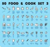 iconos del alimento y del cocinero de 50 vectores Imágenes de archivo libres de regalías