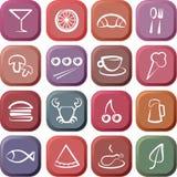 Iconos del alimento y del restaurante Imágenes de archivo libres de regalías
