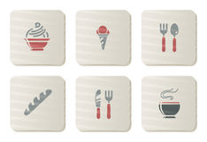 Iconos del alimento y del restaurante | Serie de la cartulina Fotos de archivo