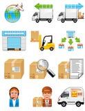 Iconos del almacenaje y de la salida Fotos de archivo