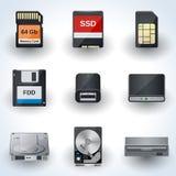 Iconos del almacenamiento de datos Fotos de archivo libres de regalías