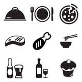 Iconos del almuerzo Imagenes de archivo