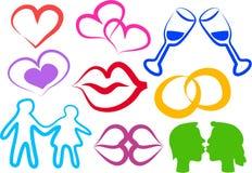 Iconos del amor Imagen de archivo libre de regalías