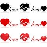 Iconos del amor ilustración del vector