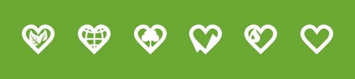 Iconos del amor de la ecología Imágenes de archivo libres de regalías
