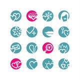 Iconos del amor del círculo Stock de ilustración