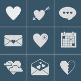 Iconos del amor del correo Fotos de archivo
