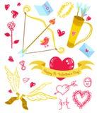 Iconos del amor del día de tarjetas del día de San Valentín Imágenes de archivo libres de regalías