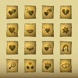 Iconos del amor del papiro ilustración del vector