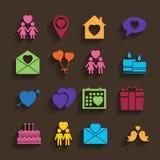 Iconos del amor fijados en estilo plano. Imagen de archivo libre de regalías