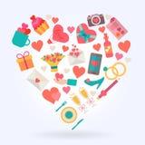 Iconos del amor fijados en forma del corazón Fotografía de archivo libre de regalías