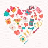 Iconos del amor fijados en forma del corazón Imágenes de archivo libres de regalías