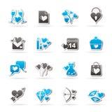 Iconos del amor y de Valentine Holidays stock de ilustración