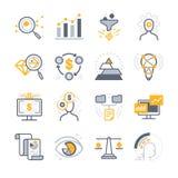Iconos del análisis de negocio ilustración del vector
