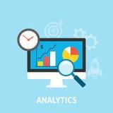 Iconos del Analytics planos Foto de archivo libre de regalías
