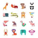 Iconos del animal del parque zoológico Foto de archivo libre de regalías