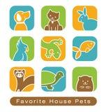 Iconos del animal doméstico de la casa Fotografía de archivo libre de regalías