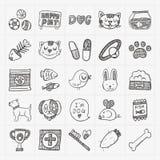 Iconos del animal doméstico del garabato fijados Foto de archivo