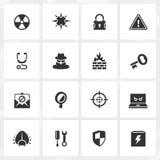 Iconos del antivirus y de la seguridad Fotografía de archivo libre de regalías