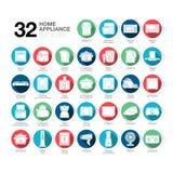 Iconos del aparato electrodoméstico planos Fotografía de archivo libre de regalías