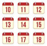 Iconos del app del calendario del vector. 10 a 18 días Imagen de archivo