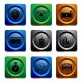 Iconos del App del dinero Imagenes de archivo