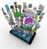 Iconos del App que descargan en el teléfono elegante Imágenes de archivo libres de regalías