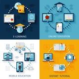 Iconos del aprendizaje electrónico fijados Imagenes de archivo