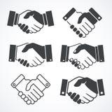 Iconos del apretón de manos Concepto del negocio y de las finanzas Imagen de archivo