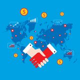 Iconos del apretón de manos y del dinero en concepto acertado del negocio del fondo del mapa del mundo Imagen de archivo