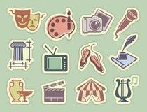 Iconos del arte en etiquetas engomadas Fotos de archivo libres de regalías