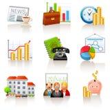 Iconos del asunto y de las finanzas ilustración del vector