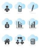 Iconos del asunto y de las finanzas Fotografía de archivo