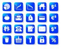 Iconos del asunto y de las finanzas. ilustración del vector