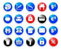 Iconos del asunto y de las finanzas. Fotografía de archivo libre de regalías