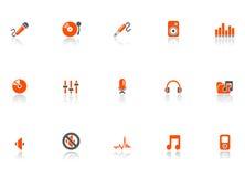 Iconos del audio y de los media. ilustración del vector