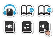 Iconos del audiolibro fijados Fotos de archivo libres de regalías