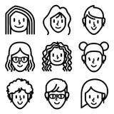 Iconos del avatar de la cara de la mujer y de la muchacha stock de ilustración
