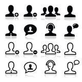 Iconos del avatar del hombre del utilizador fijados Fotografía de archivo