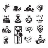 Iconos del balneario fijados Fotos de archivo