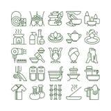 Iconos del balneario fijados stock de ilustración
