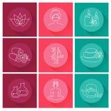 Iconos del balneario fijados Diseño plano Fotografía de archivo libre de regalías
