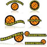 Iconos del baloncesto stock de ilustración