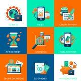 Iconos del banco fijados Imagen de archivo