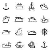 16 iconos del barco Fotos de archivo libres de regalías