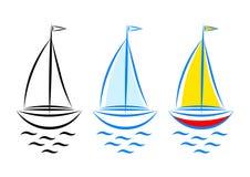 Iconos del barco de vela Imagen de archivo