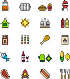 Iconos del Bbq o de la comida campestre Foto de archivo libre de regalías