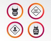 Iconos del bebé a bordo Muestras infantiles de la precaución ilustración del vector